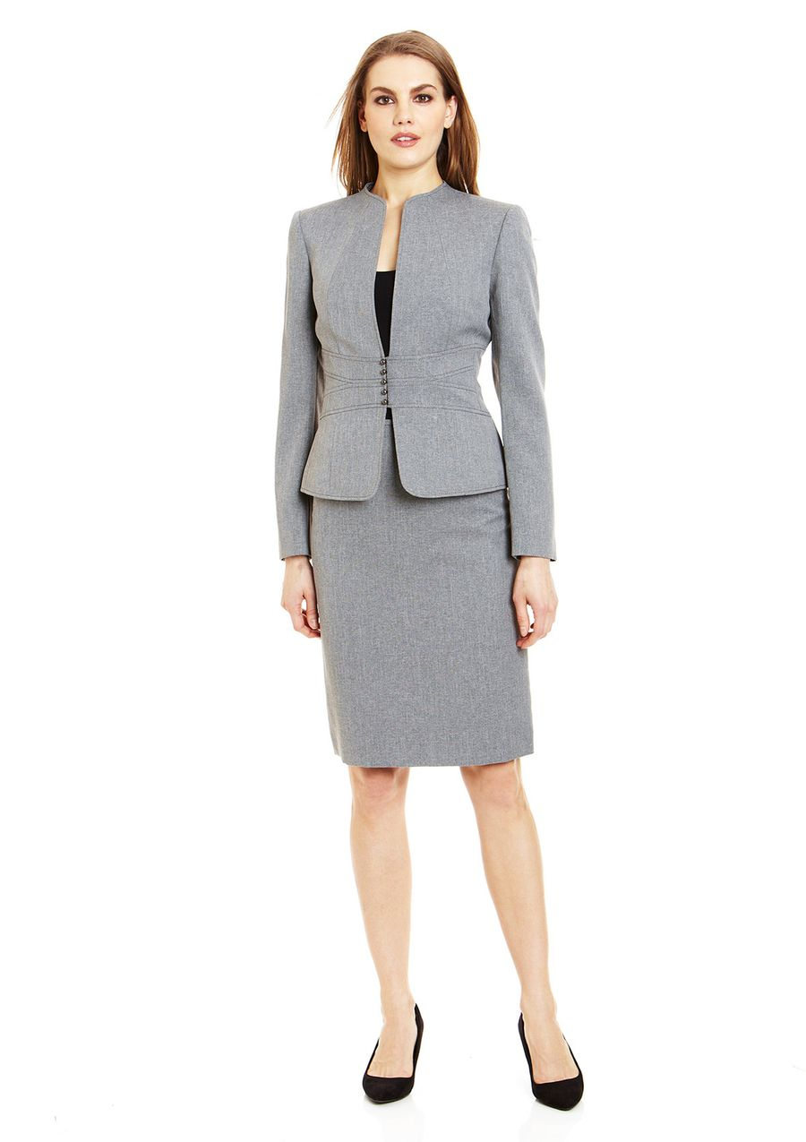 Countess Pinstripe Blazer /& Skirt Suit Black-Gray-White-SIZE /& COLOR CHOICE
