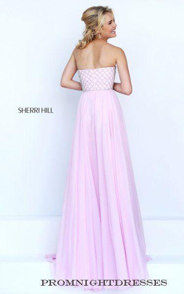 Beaded Pink Sherri Hill 50039 Chiffon Prom Dress