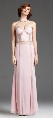 Pale Pink Embroidered Illusion Back Gown