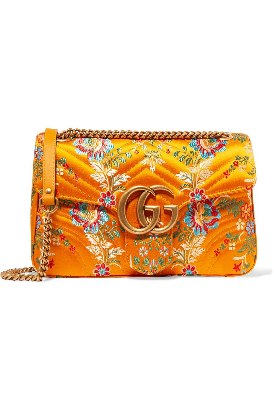 5096d1b188ef GUCCI GG Marmont medium quilted floral-jacquard shoulder bag: multicolored  jacquard, marigold leather (Calf) Push clasp-fastening front flap Comes  with dust ...