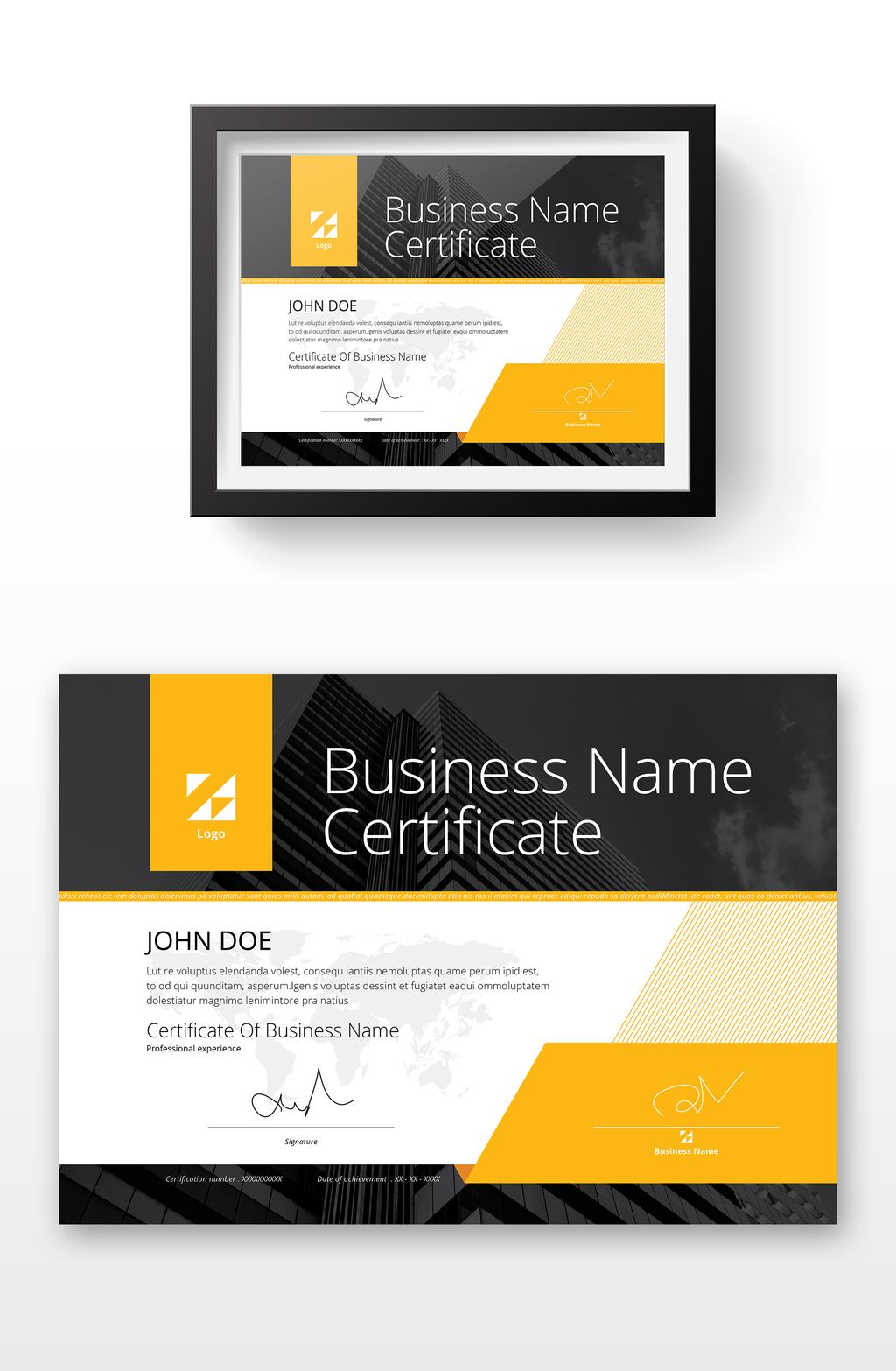 Certificate layout with yellow accents buy this stock template and explore similar templates at adobe also best design images in rh pinterest