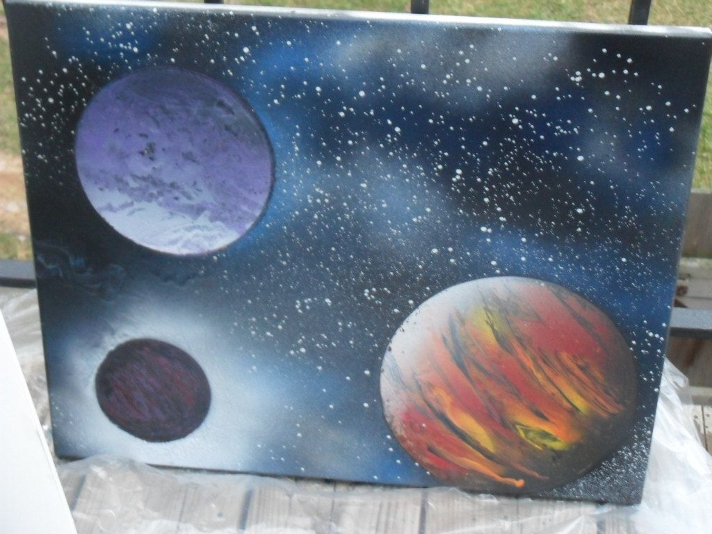 Canvas Spray Paint Ideas Part - 19: On Canvas---Outer Space Spraypaint Art.