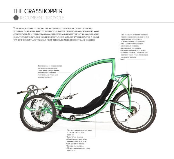 Grasshopper The Recumbent Tricycle On Industrial Design Served Trike Bicycle Tricycle Recumbent Bicycle