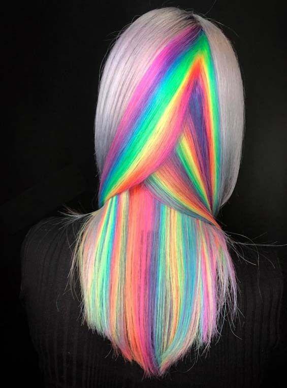 fantastic ideas of rainbow hair