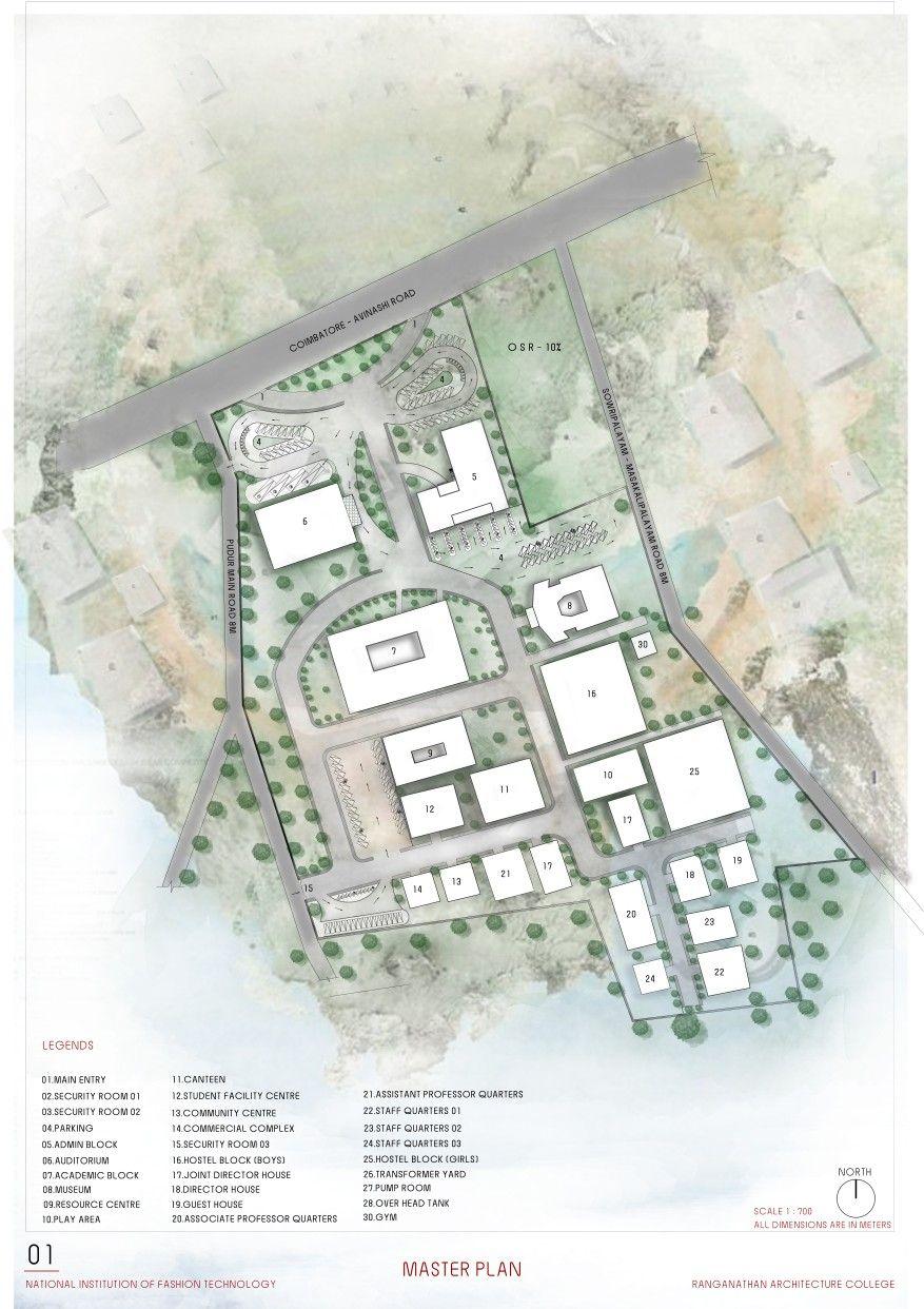 Nift Architectural Design Watercolor Siteplan Architektonische Zeichnung Zeichnung