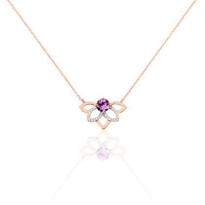 Collier Or Rose Fleur Amethyste Diamants Bijoux Pinterest
