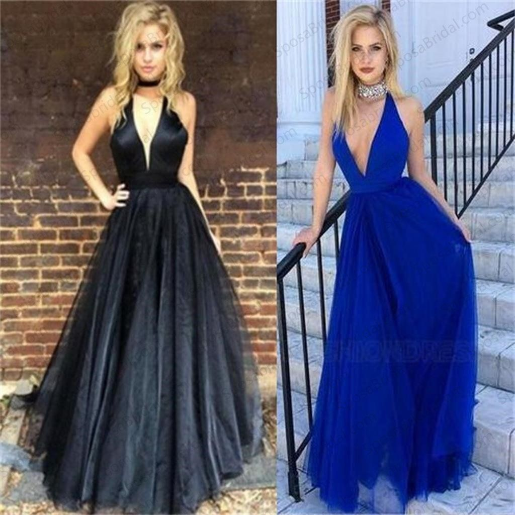 Sexy deepvneck fashion cheap elegant prom dresses aline formal