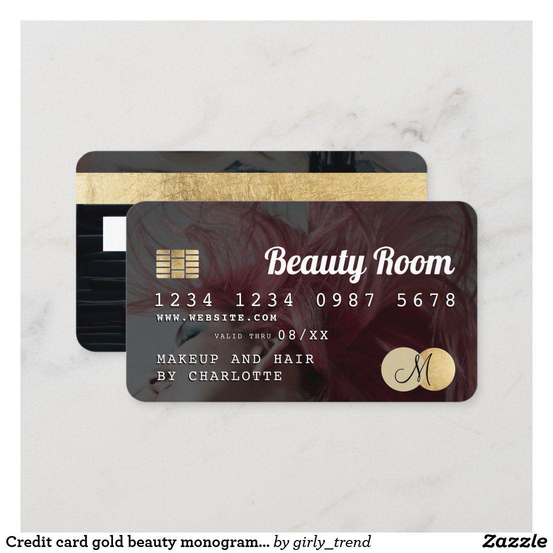 Credit Card Gold Beauty Monogram Photo Zazzle Com Gold Beauty Hair Business Cards Monogram
