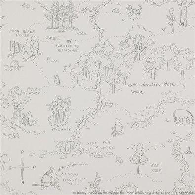 Classic Winnie The Pooh Wallpaper Nursery Wallpaper Map