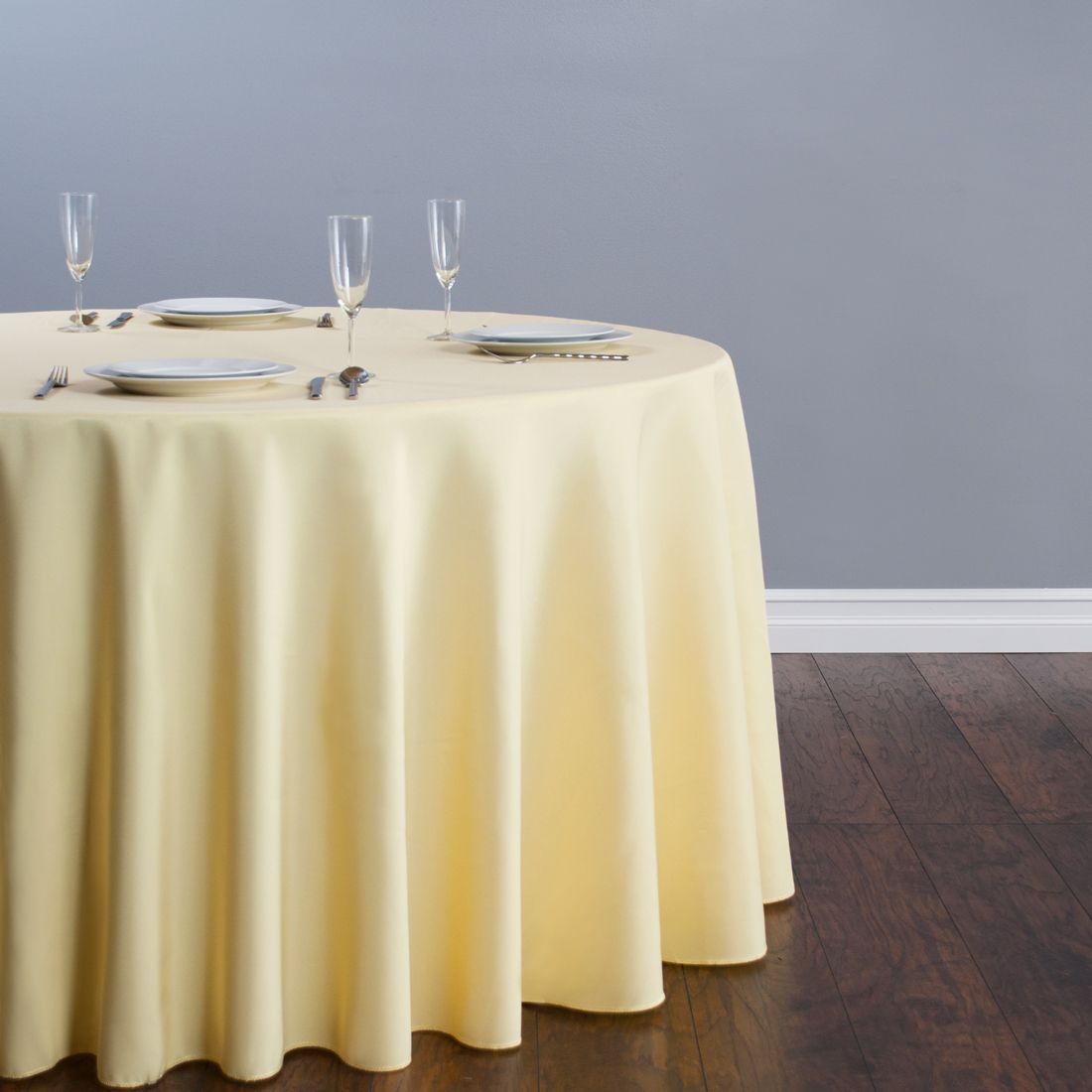 120 In Round Polyester Tablecloth Butter Table Cloth Round Tablecloth Yellow Tablecloth