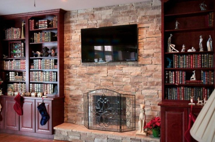 charming empty living room fireplace | Get The Warmth of Charming Stacked Stone Fireplace Design ...