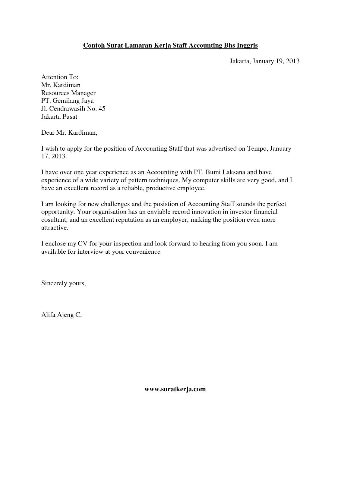 Contoh Surat Lamaran Kerja Bhs Inggris Inggris Bahasa Inggris Surat