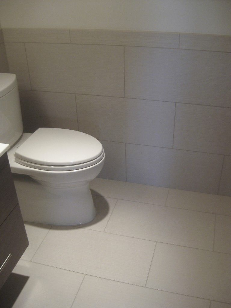 Great Idea To Take The Bathroom Floor Tile Up The Wall For The