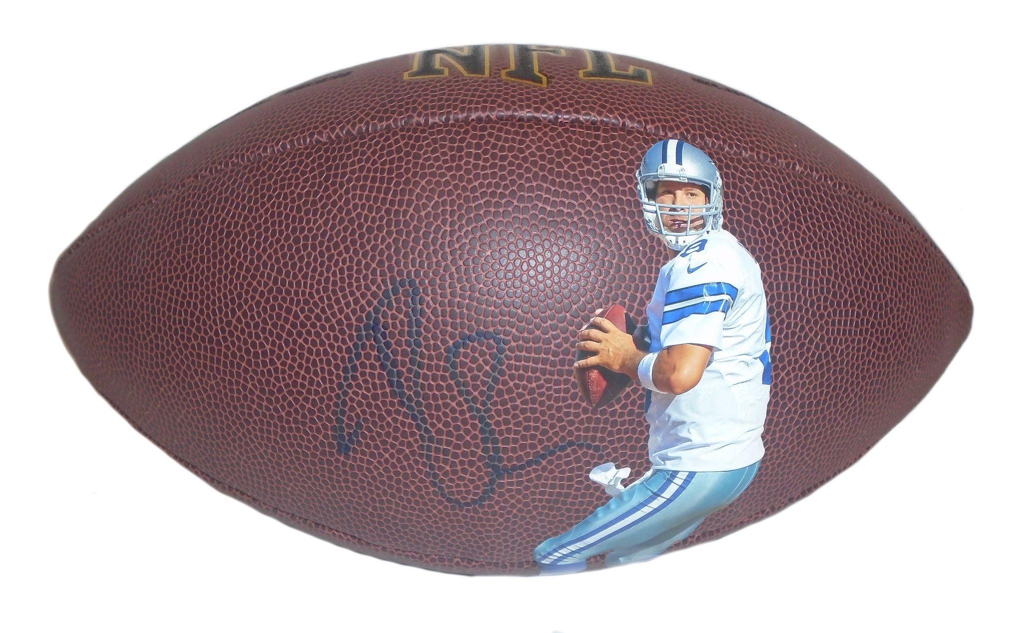 Tony Romo Autographed Dallas Cowboys Photo NFL Wilson Football ... 03d002396
