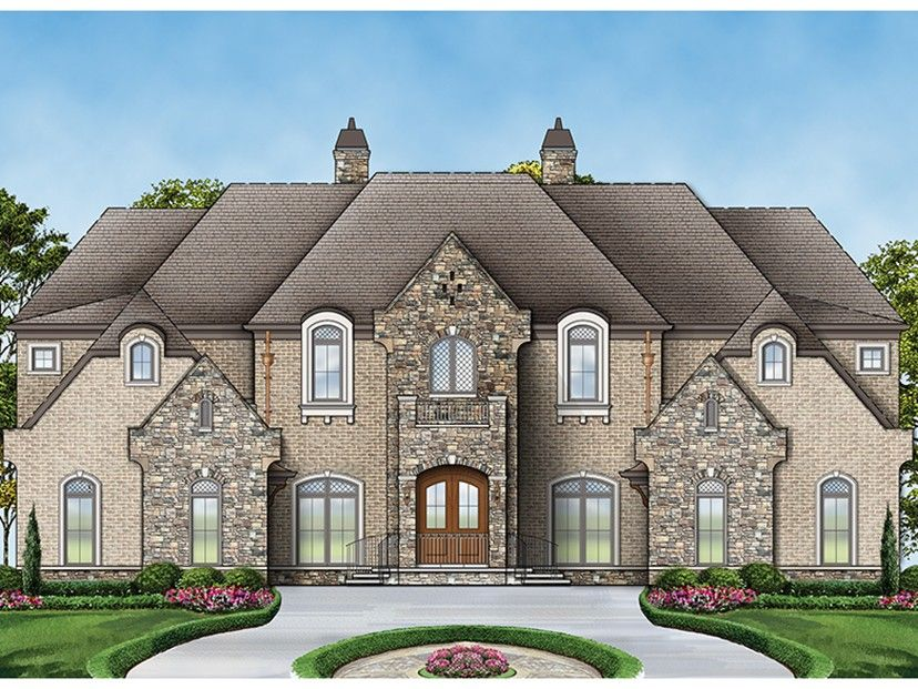 European Style House Plan 6 Beds 6 5 Baths 6072 Sq Ft Plan 119 423 French Country House Plans Country Style House Plans Luxury House Plans