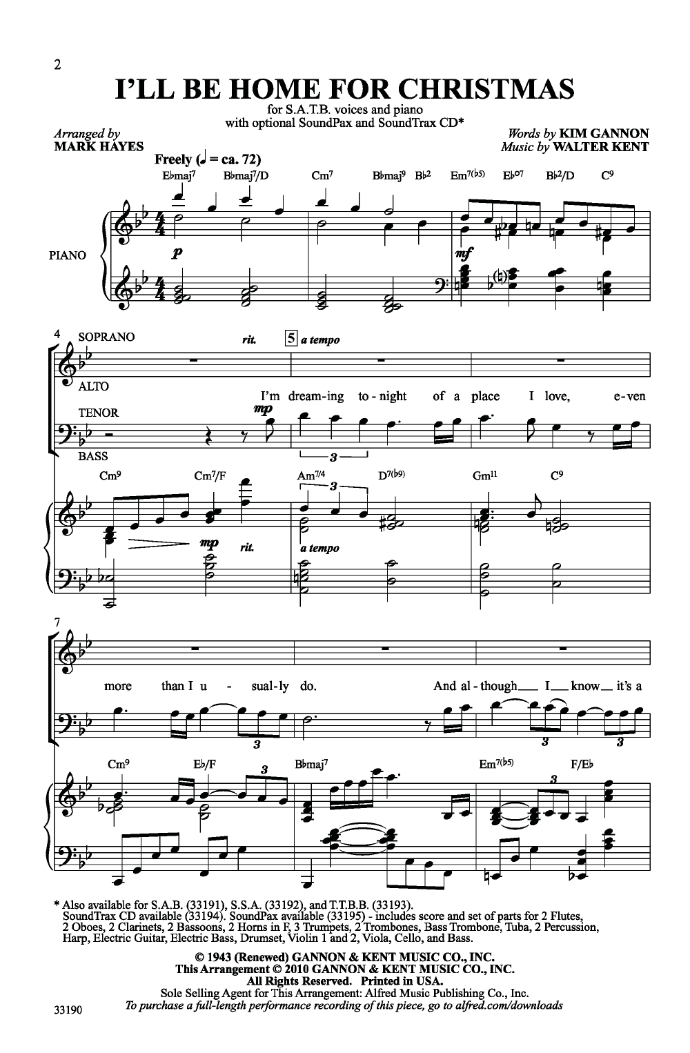 I'll Be Home for Christmas (SATB ) arr. Mark | J.W. Pepper Sheet ...