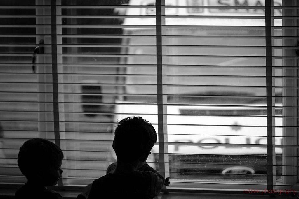 """97/366 - Nice view - """"Daddy there's a police car outside"""" screamed number 2 before setting up camp at the window with his brother to watch the stationery vehicle for 20 minutes while Mrs Lee was out Parish Councilling with the Casualty Prevention Officer.  Who needs toys when the drive is this exciting."""