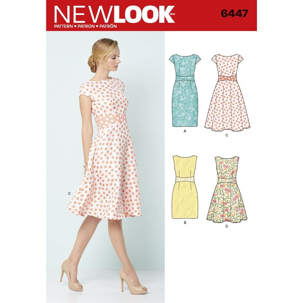 New Look Sewing Pattern 6447A Misses\' Dresses, White: Amazon.co.uk ...