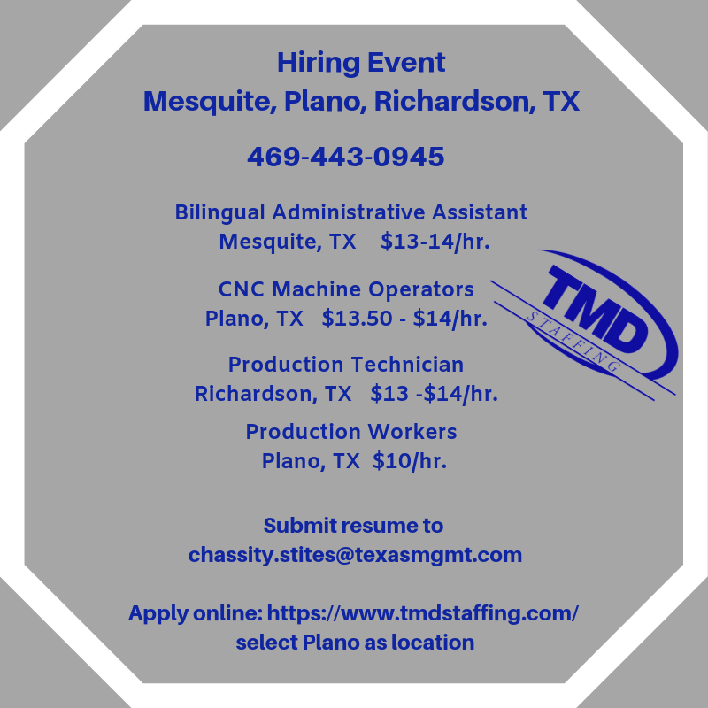 Hiring Event In The Dallas Tx Area Call 469 443 0945 Or Forward