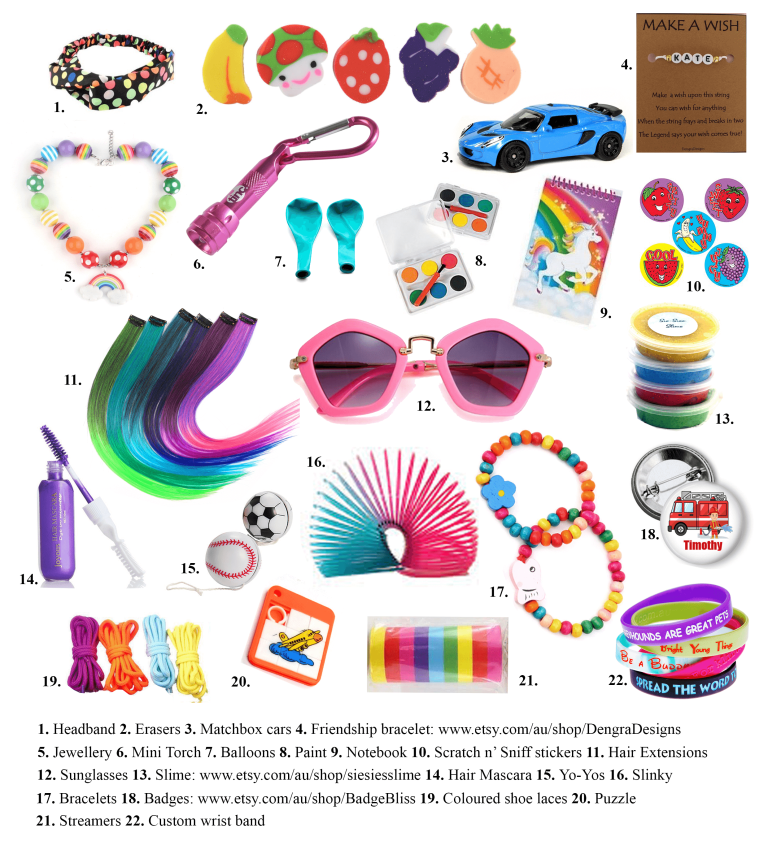 100 Things To Put In Party Bags Under 10 And Not Candy Adelle Birthday Party Goodie Bags Party Bags Party Bags Kids