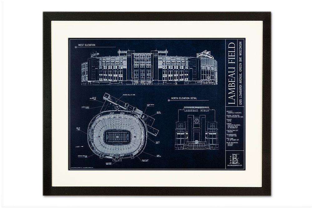 Lambeau field green bay packers from ballpark blueprints lambeau field green bay packers from ballpark blueprints ballpark wall art football stadium malvernweather Images