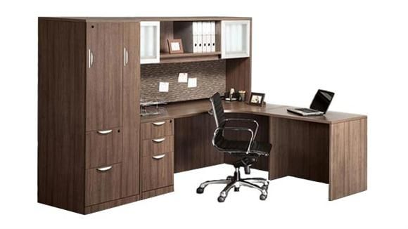 L Shaped Desk With Hutch And Wardrobe Storage Modern Walnut   Right Return  By Office Source