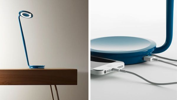 Pixo by Pablo is the perfect desk light, blue contemporary light, slim design, flexible,small base that also charges a phone