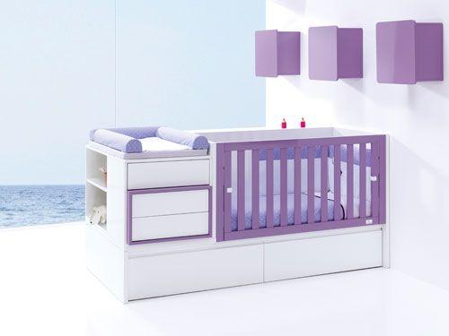 Camerette alondra ~ Cunas convertibles de diseño de alondra en color purple para niños