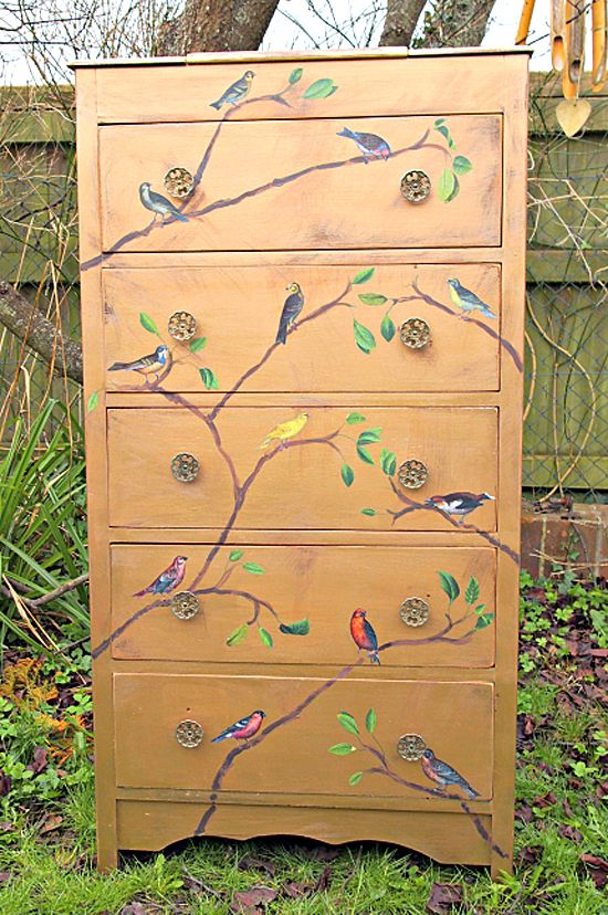 various colors 347eb a9127 Painted Tallboy Dresser with Birds - Reader Featured Project ...