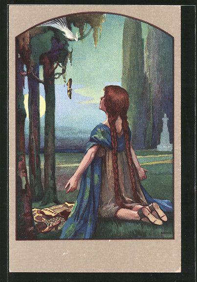 carte postale ancienne: CPA Illustrateur St.Bender: Fille kniet vor einem Vogel et erhält einen goldenen Schuh geschenkt