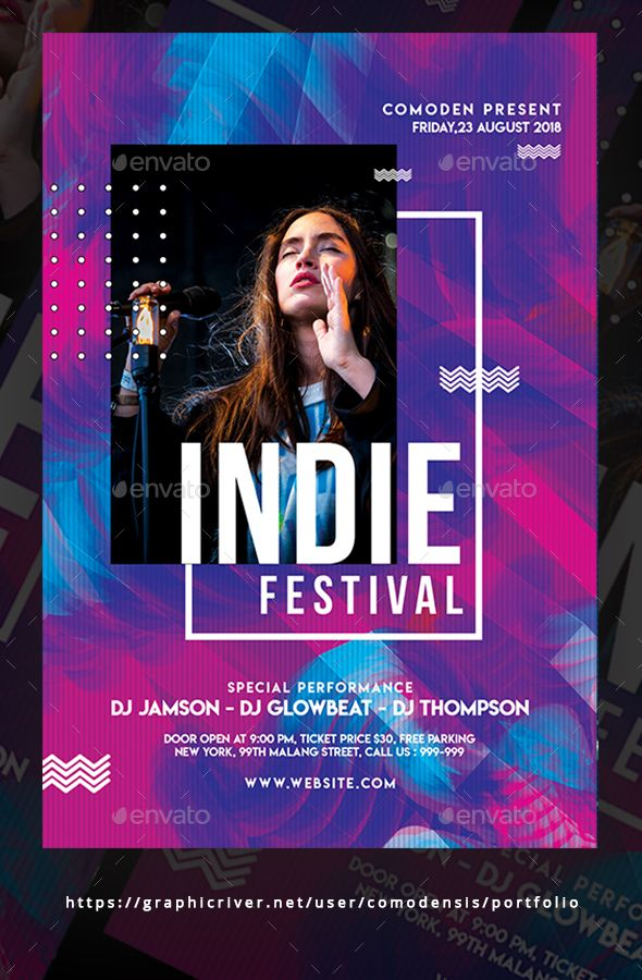 Indie Flyer Template PSD \u2022 Smart Object \u2022 300 DPI \u2022 CMYK \u2022 Easy to