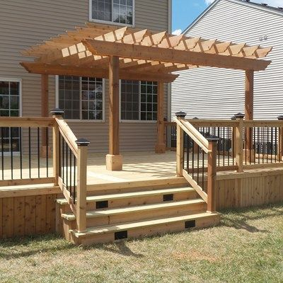 Captivating This Is A Deck With Pressure Treated Decking With Cedar Rails, Trim, And  Skirting. One Side Of The Deck Contains A Pergola That Is X Post To Post.