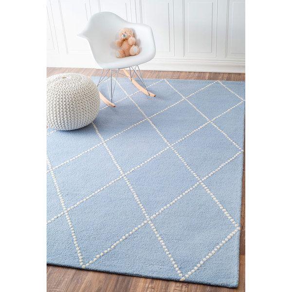 Great NuLOOM Handmade Dotted Trellis Wool Kids Nursery Baby Blue Rug (5u0027 ...