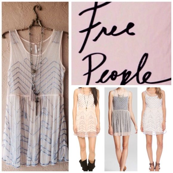 NWT Free People Embellished Mesh slip dress