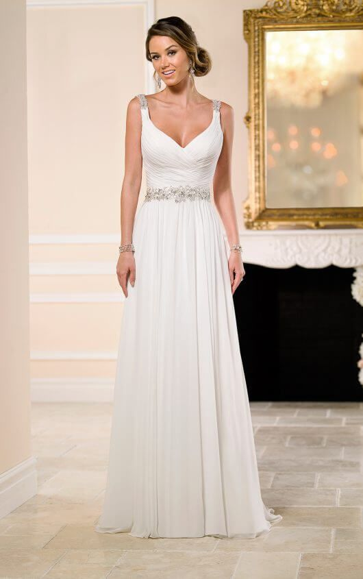 a1c4f3a5c9be Flowy Grecian Bridal Gown with Sparkly Belt in 2019 | FaLl WeDdiNg ...