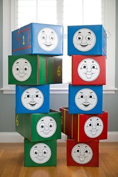 Easy tutorial for making LOTS of Thomas and friends costumes, plus 5 free printable faces!