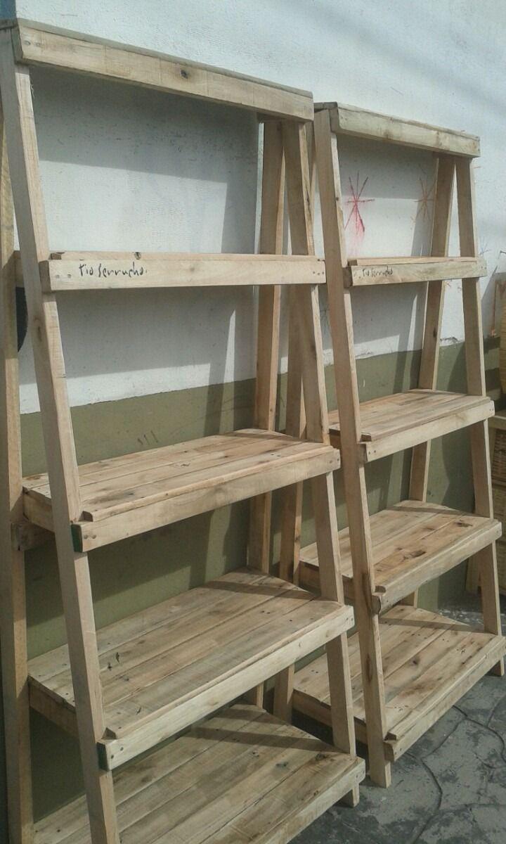 Madera recuperada biblioteca estanter a repisa 950 00 - Madera para estantes ...