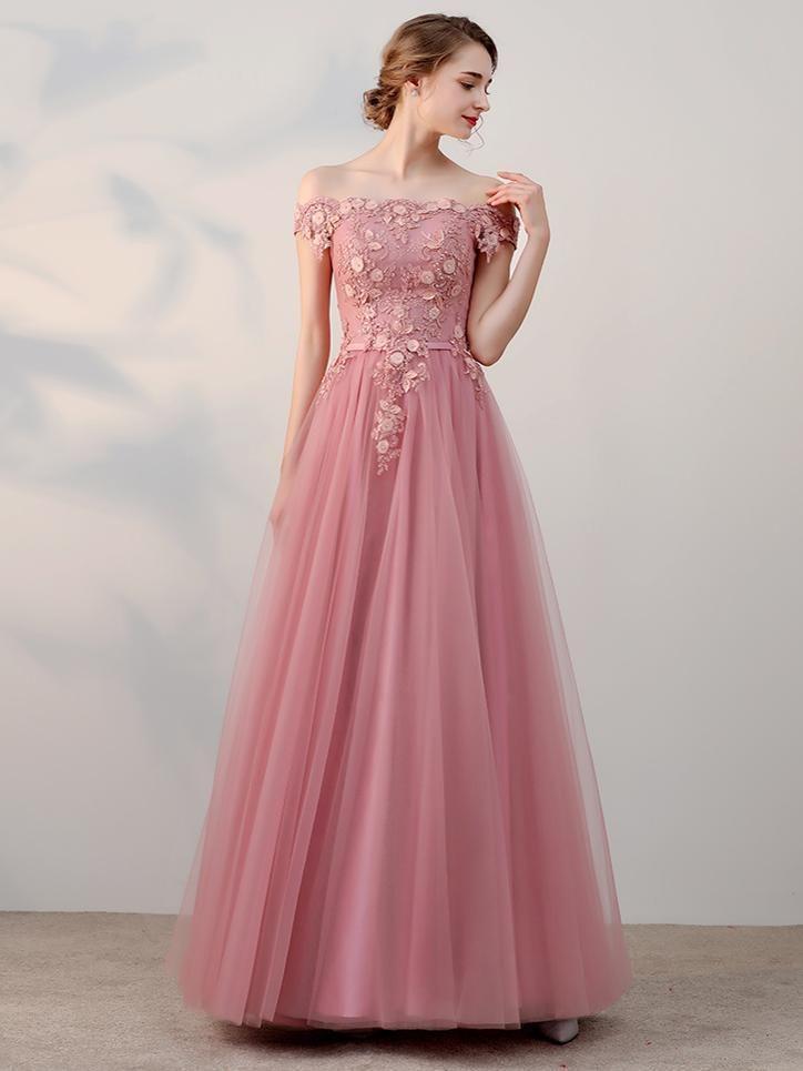 Modest Prom Dresses Off-the-shoulder Appliques A-line Long Prom ...