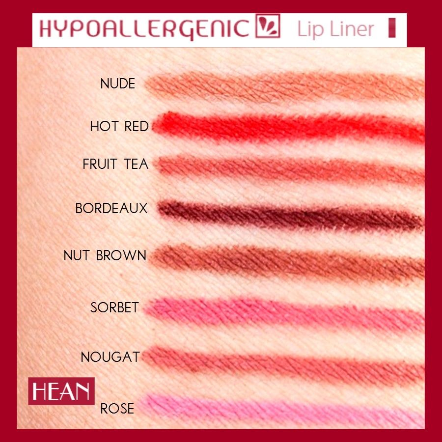 Swatches of the Hean Hypoallergenic lip liners