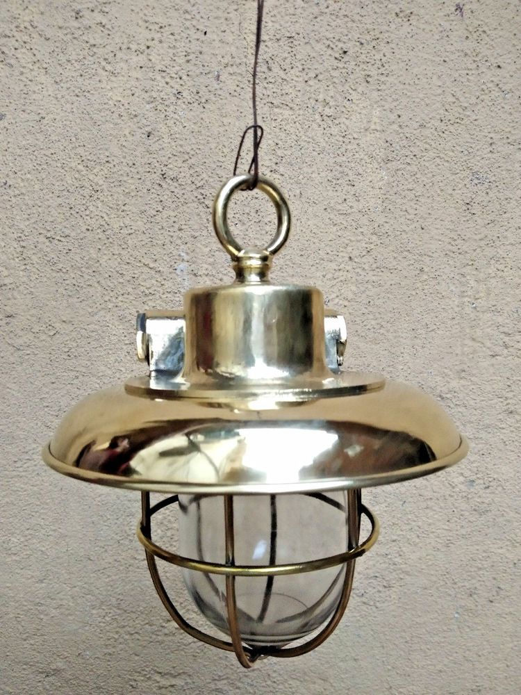 Old Antique Salvage Br Nautical Ship Hanging Light With