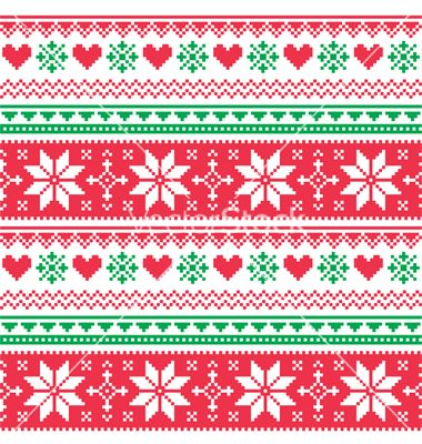 Nordic seamless knitted christmas red and green vector | Adult ...