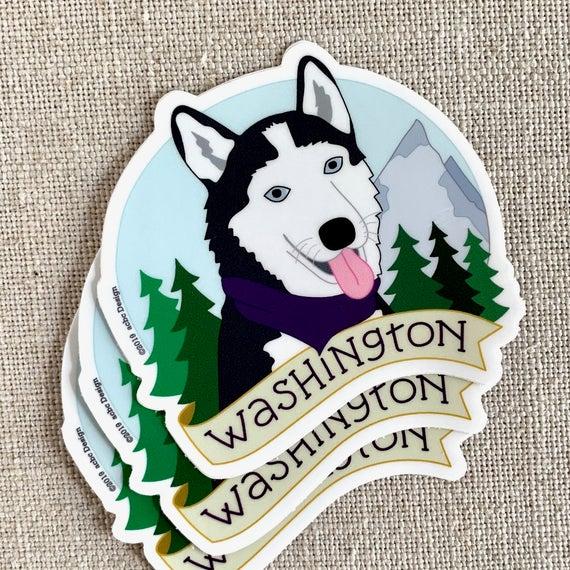Washington Husky Dog Vinyl Sticker Washington State Illustrated