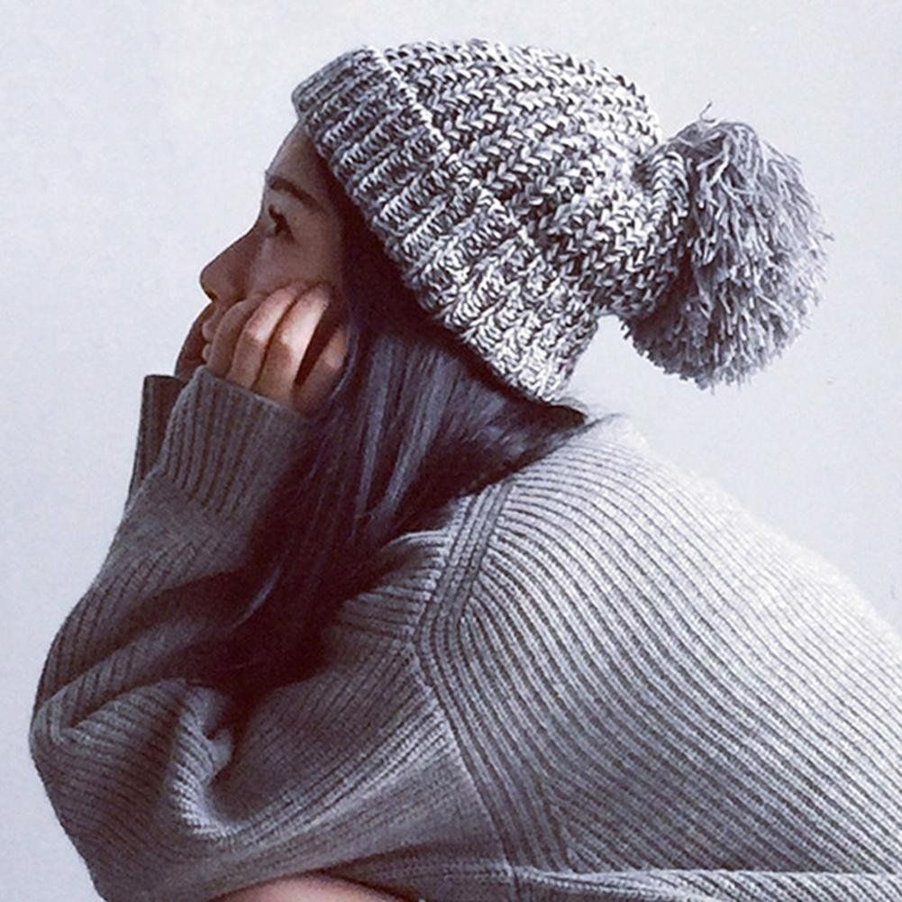 5aafbd94ead ANY KIND OF TOBOGGAN WITH A LARGE POM POM - RoseSummer Men   Women s Winter  Cable Knit Faux Fur Pom Pom Foldable Cuff Beanie Hat (White) at Amazon  Women s ...