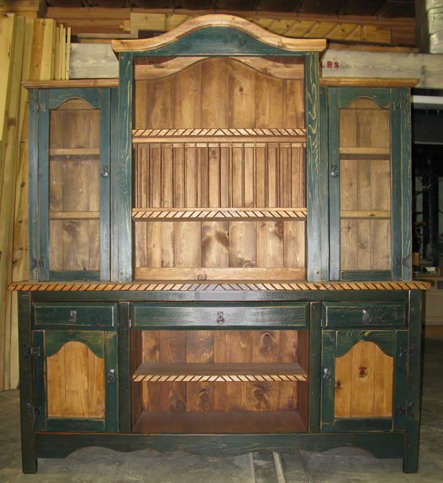 Rustic china hutch el dorado with plate rack & Rustic china hutch el dorado with plate rack | Kitchen ideas ...