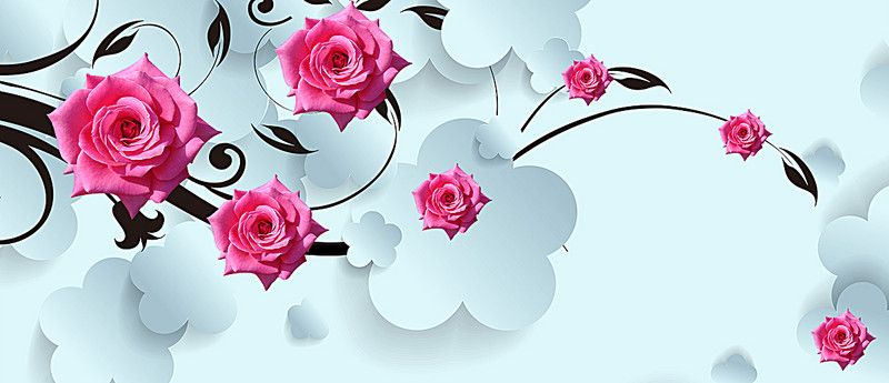 3d White Minimalist Tv Wall Roses Background Banner Com Imagens