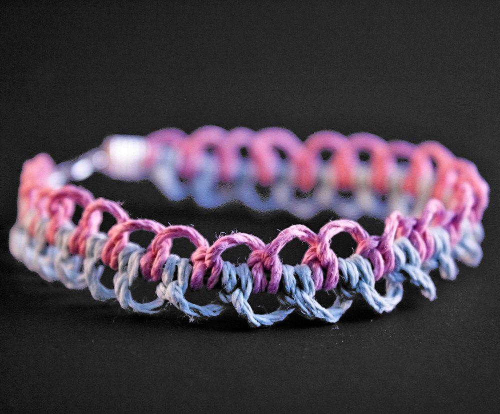 Hemp Bracelet Patterns  Hemp Bracelet: Cotton Candy Pastel Pink And Blue  Ripple Pattern Hemp