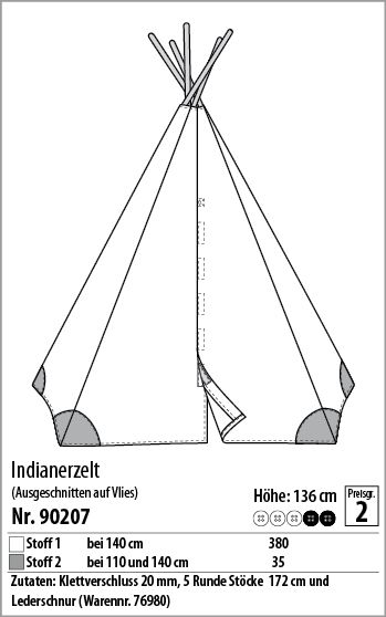 indianerzelt 90207 stoff stil tipi zelte kinderh hlen pinterest indianerzelt. Black Bedroom Furniture Sets. Home Design Ideas