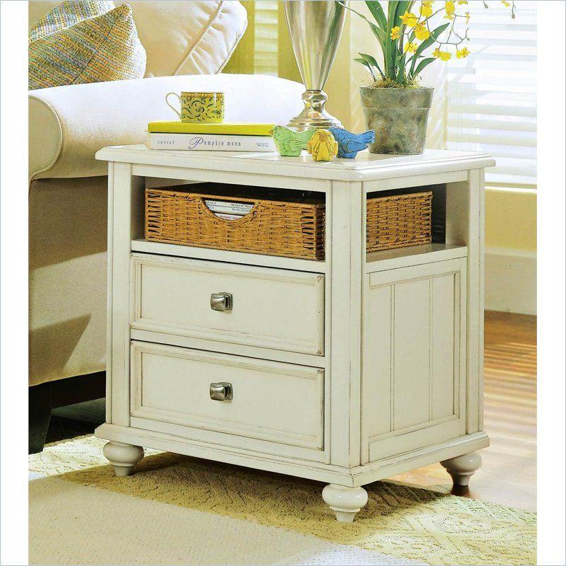 Bon American Drew Camden Antique White Wood Storage End Table