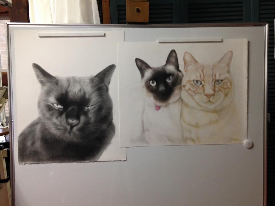 猫の絵描き高橋行雄、先日制作に取り掛かったの注文画の「桃太郎」と「檀くん&マルコくん」大変な様ですが順調に出来てきてます。 まだまだ時間かかりますが、、