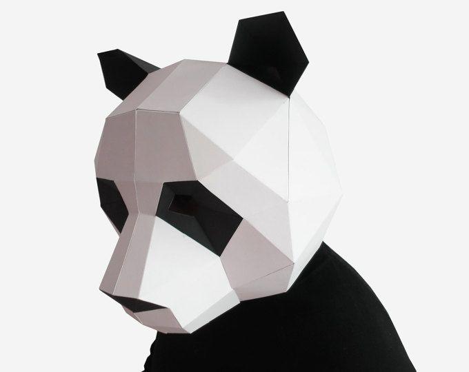 Panda Mask, DIY printable Animal Head, Instant Pdf download, DIY New ...
